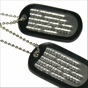Set of 2 Personalised Army Dog Tags with Silencers & Chains